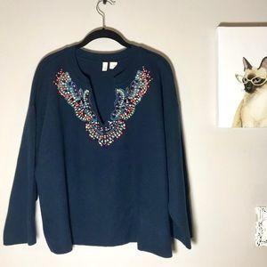 Anthropologie Moth Jewel Embellished Sweater